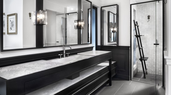 ​​​​​​​Classic detailing dovetails with modern design in this bathroom, black and white, tiled floor, flooring, bathroom design, Leon house, Dulux