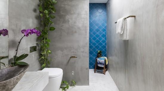 Vivid blue encaustic tiles add a splash of architecture, bathroom, interior design, gray, blue, tiles, grey, concrete vanity top