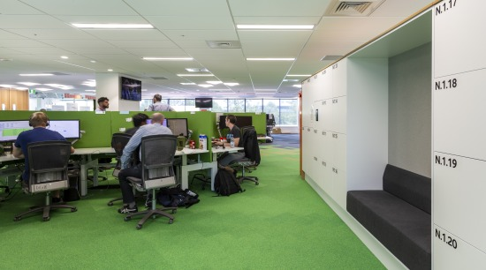 For the Vodafone fit-out, commercial furniture specialists Vidak office, room, gray, green, Vodafone fit-out, commercial furniture, Vidak, smart desking, smart lockers