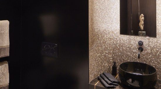 ​​​​​​​Earp Bros gold mosaic and black Corian wall architecture, bathroom, gold, black, countertop, interior design, marble, plumbing fixture, sink, tap, tile, black, corian, wall panels, Archer Design