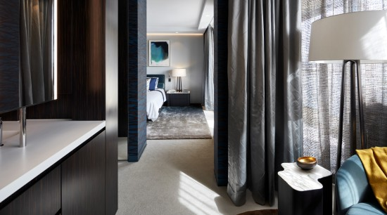 Sheers and curtains in the bedroom and dressing architecture, curtain, floor, furniture, apartment, interior design, dressing room, suite, black, gray, Archer Design