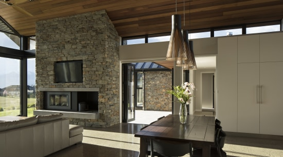 ​​​​​​​In this expansive home by Condon Scott Architects, architecture, building, ceiling, countertop, dining room, furniture, home, house, interior design, living room, Condon Scott Architect, bifold doors