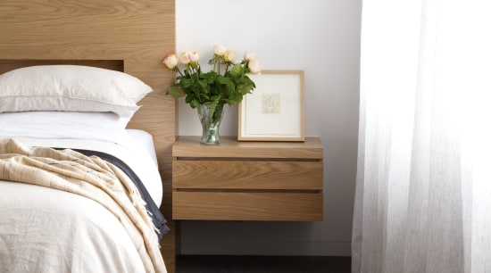 ​​​​​​​Cantilevering the side tables in the master bedroom architecture, bed, bed frame, bed sheet, bedding, bedroom, chest of drawers, comfort, drawer, duvet, floor, flooring, furniture, hardwood, home, house, interior design, mattress, nightstand, property, room, table, textile, wall, wood, white