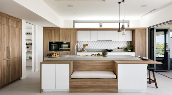 For this kitchen by interior architect and kitchen architecture, cabinetry, countertop, benchtop, cuisine classique, cupboard, floor, furniture, hardwood, kitchen, lighting, material property, plywood, table, wood, white, Nadia Clark