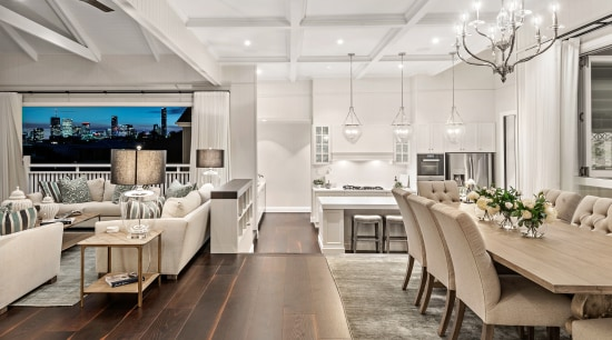 For this Hamptons style kitchen by Baahouse + dining room, timber floor, furniture, interior design, light fixture, lighting, living room, dining table, Baahouse + Baastudio Architecture
