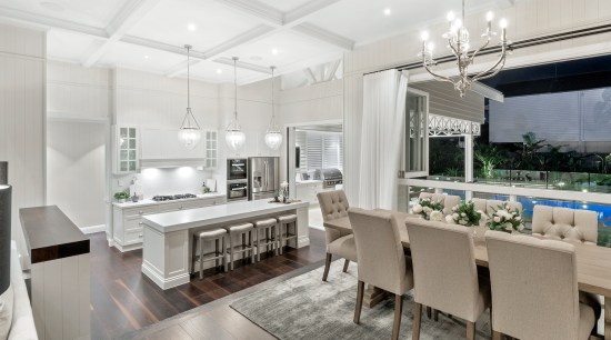 The traditional, detail-rich charms of a Queenslander home room, floor, fining furniture, interior design, light fixture, lighting, table, white, kithen,  Hamptons, Baahouse + Baahouse Architecture