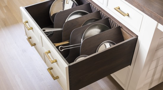 This storage-rich kitchen includes a dedicated, compartmentalised deep box, drawer, kitchen, storeage, Studio Dearborne