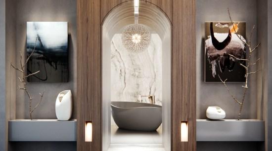 A sculptural slipper bath takes centre stage in bathroom, doorway, arch, floor, flooring, tile, gray, freestanding bath, wood veneer, kohler