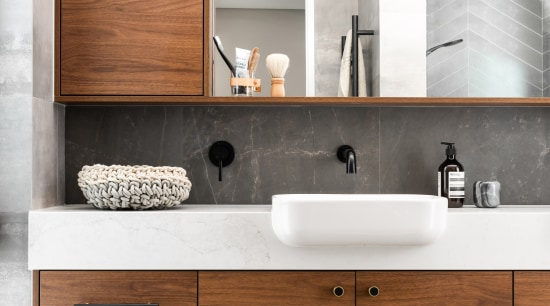 This master ensuite has a luxury aesthetic with architecture, bathroom, bathroom accessory, bathroom cabinet, cabinetry, ensuite, countertop, drawer, floor, plumbing fixture, sink, tap, tile, white, vanity, luxury, Dalecki Design