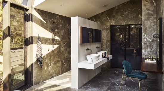 ​​​​​​​A blade wall provides privacy for the shower architecture, bathroom, design, floor, flooring, home, house, interior design, tile, Darren James, shower zone, cantilevered vanities