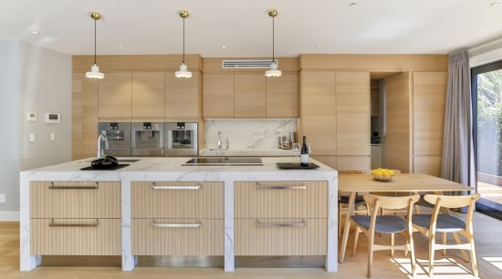 Natural-touch oak veneer on the perimeter cabinetry and architecture, cabinetry, countertop, cupboard, home, house, interior design, kitchen, lighting, tile, wood, wood flooring, oak, Matisse