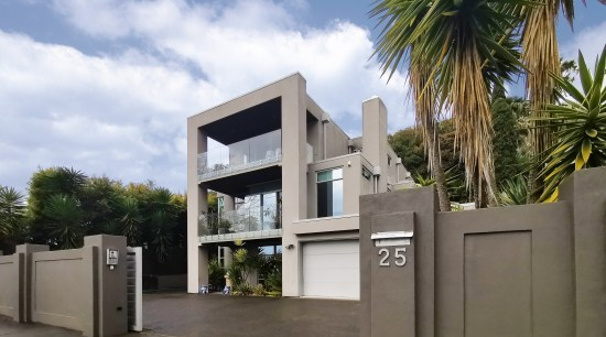 ​​​​​​​Cool and contemporary, this multi-level Remuera home was architecture, building, concrete, facade, gate, home, house, material property, property, real estate, residential area, tree, gray, brown