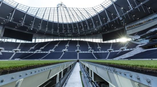 Automated pitch trays at Tottenham Hotspur's new stadium architecture, arena, building, metropolitan area, soccer-specific stadium, sport venue, stadium, black, white