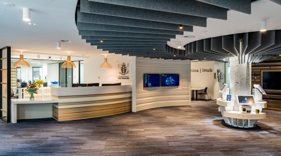 The fit-out of Treasury's new offices in the Workspace Architects, architecture, building, lobby, flooring, interior design, wood flooring,