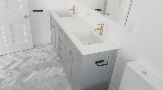 Screen Shot 2018 07 05 At 8 37 bathroom, bathroom accessory, bathroom cabinet, bathroom sink, drawer, floor, plumbing fixture, tap, tile, gray, white, 5 Star Bathroom,  Gold shower fitting,  gold taps