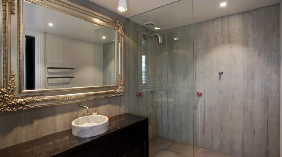 All the large bathrooms in this contemporary country bathroom, ceiling, home, interior design, property, real estate, room, gray