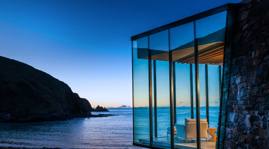 Annandale Banks Peninsula, New Zealand - architecture | architecture, azure, blue, building, evening, glass, horizon, house, ocean, rock, room, sea, sky, water, window, black, blue