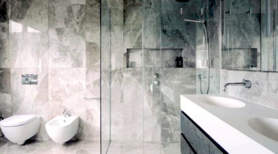 Bathroom design by Natalie Du Bois https://www.duboisdesign.co.nz/page/neutral-minimalist-parnell/ - bathroom, floor, flooring, interior design, plumbing fixture, room, tap, tile, wall, white, gray