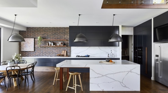 Smartstone Toowoomba Residence Two By Claire Stevens Interior architecture, cabinetry, countertop, cuisine classique, interior design, kitchen, loft, wood flooring, white, black