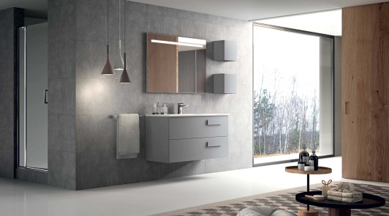 Italian flair for your bathroom - Inda Street architecture, bathroom, bathroom accessory, bathroom cabinet, building, cabinetry, ceiling, countertop, cupboard, floor, flooring, furniture, house, interior design, material property, property, room, sink, tap, tile, wall, gray, black