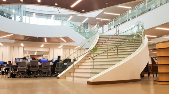 Suffolk County Community College 1 - architecture | architecture, building, daylighting, flooring, glass, handrail, interior design, lobby, stairs, white, orange