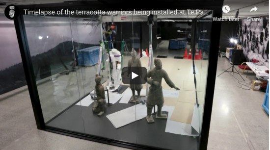 Terracotta Warriors enclosure – Te Papa museum, Wellington gray, black
