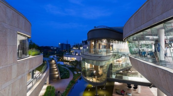 Titan Bangalore Workplace Outdoor View Purnesh 15 - architecture, building, city, hotel, metropolitan area, mixed-use, real estate, shopping mall, sky, urban design, blue, gray