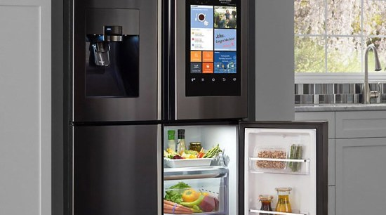 ​​​​​​​Smart Hub: A refrigerator with a Wi-Fi enabled home appliance, kitchen appliance, major appliance, product, refrigerator, shelving, black, gray