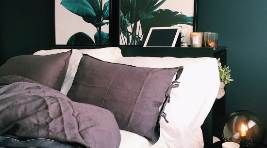 Every year the cold season can make your bed, bed frame, bed sheet, bedding, bedroom, black, blue, couch, furniture, green, home, house, houseplant, interior design, leaf, nightstand, plant, room, table, textile, tree, turquoise, black