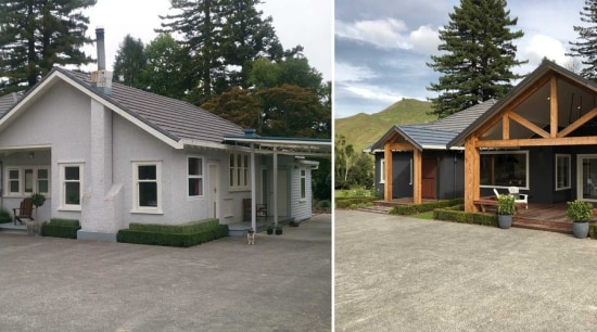 Before And After - building | cottage | building, cottage, estate, facade, farmhouse, home, house, land lot, landscape, property, real estate, roof, shed, siding, tree, yard, gray