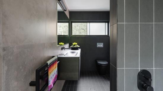 Bijl Architecture architecture, bathroom, bathroom accessory, floor, interior design, product design, room, tile, gray, black