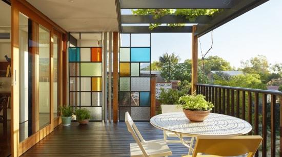 Distinctly De Stijl architecture, balcony, estate, home, house, interior design, patio, real estate, window, brown