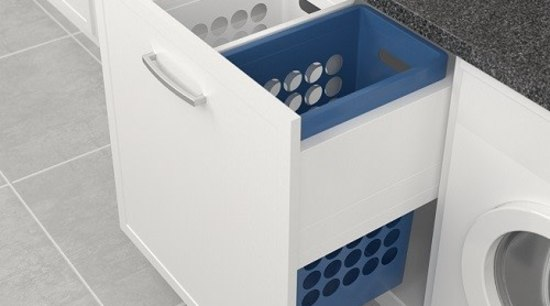 Deluxe pull out laundry units with plastic baskets bathroom accessory, drawer, home appliance, laundry, major appliance, product, product design, sink, tap, white