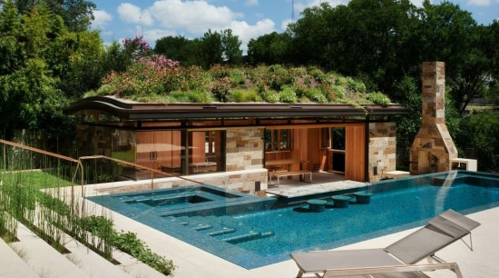 This pool house is immersed in nature - estate, home, house, leisure, property, real estate, resort, swimming pool, villa, brown, gray