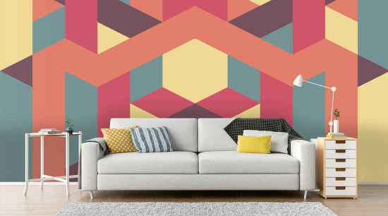 Geometric wallpaper interior design, living room, pattern, wall, wallpaper, red, white