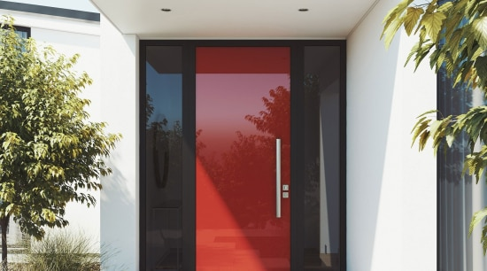 The Element door offers the latest contemporary style architecture, door, facade, home, house, property, real estate, white
