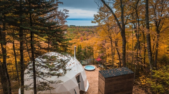 Dome 1 autumn, cottage, home, landscape, leaf, nature, plant, property, real estate, state park, tree, wilderness, wood, brown