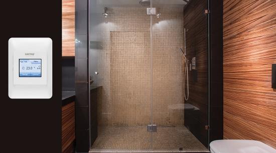 Thermostat bathroom, floor, interior design, plumbing fixture, room, tile, black