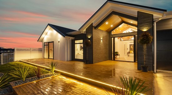 Complement your Shiplap Envira Weatherboard home with design architecture, building, ceiling, design, estate, facade, home, house, interior design, lighting, property, real estate, residential area, roof, room, siding, sky, villa, brown, orange