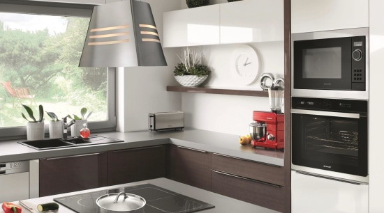 French appliance style, quality and value for money building, cabinetry, countertop, cuisine classique, cupboard, exhaust hood, floor, furniture, home, home appliance, house, interior design, kitchen, kitchen appliance, kitchen stove, major appliance, material property, microwave oven, property, refrigerator, room, small appliance, tile, white, white, gray