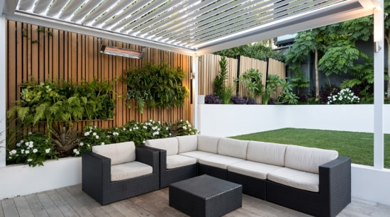 Louvretec New Zealand - architecture | backyard | architecture, backyard, building, ceiling, courtyard, floor, flooring, furniture, house, houseplant, interior design, landscaping, living room, lobby, patio, plant, property, real estate, roof, room, shade, gray