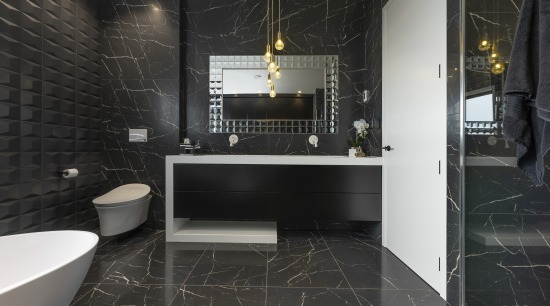 Celia Visser Design – Winner – TIDA New bathroom, floor, flooring, interior design, room, tile, wall, black