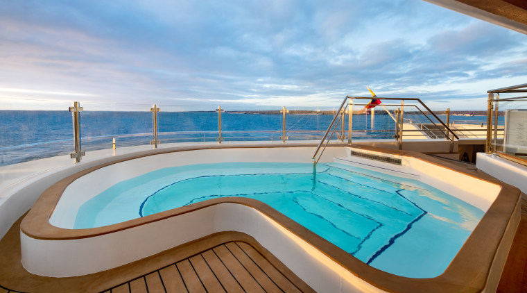 The 100-metre-long open ocean cruise ship is a teal
