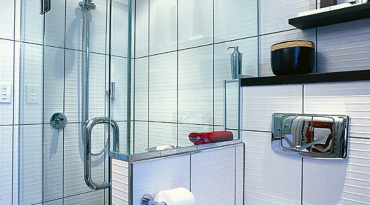 The detailed view of the shower area of bathroom, glass, interior design, plumbing fixture, room, tile, wall, gray
