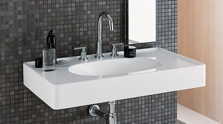 The detail of a bathroom showing the basin angle, bathroom, bathroom accessory, bathroom cabinet, bathroom sink, ceramic, plumbing fixture, product, product design, sink, tap, black, white