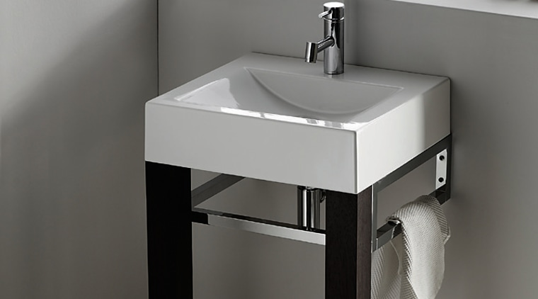 Plan 150 wash basin with legs and rail angle, bathroom, bathroom accessory, bathroom cabinet, bathroom sink, ceramic, plumbing fixture, product, product design, sink, tap, gray, white