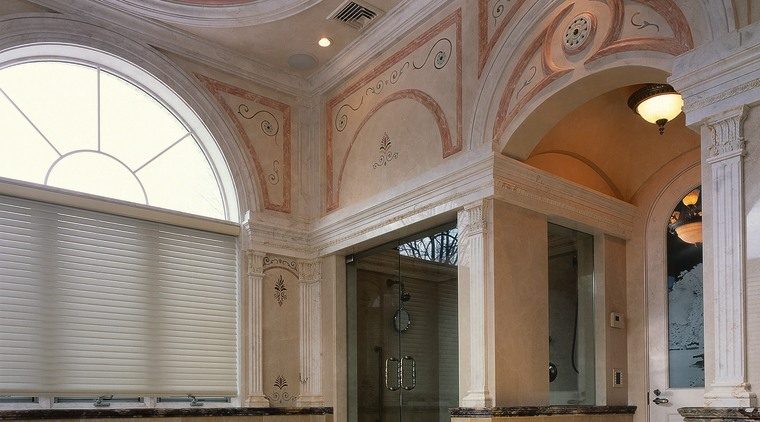 View of this incredible shower & the decorations ceiling, column, daylighting, estate, floor, home, interior design, lobby, property, real estate, wall, window, gray, brown