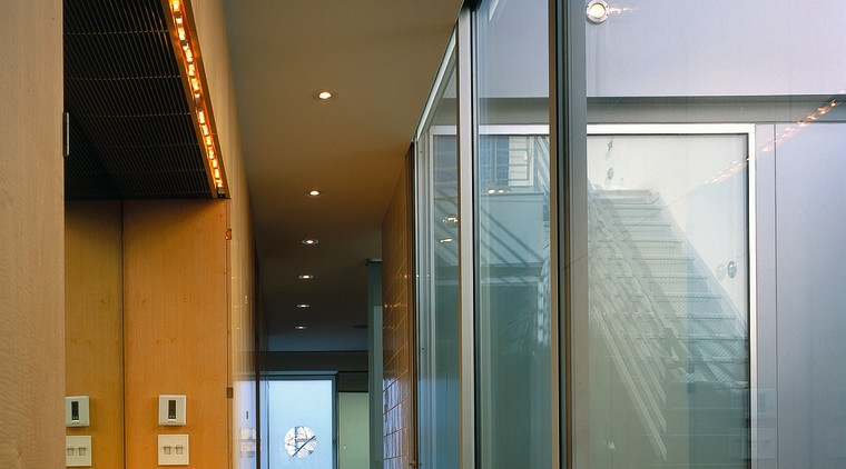 The corridor to the bathroom architecture, ceiling, daylighting, glass, house, interior design, window, gray, black, brown