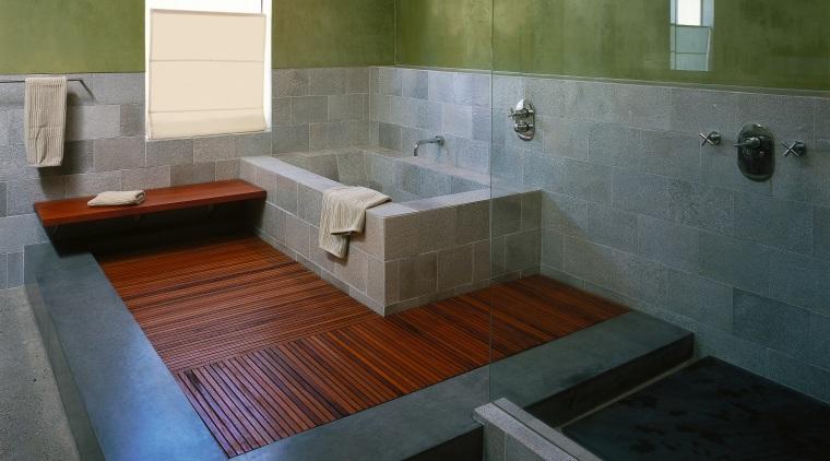 View of the master bathroom architecture, bathroom, floor, flooring, interior design, property, room, tile, gray, black, brown