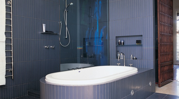 Overview of the bathtub & shower architecture, bathroom, bathtub, floor, interior design, plumbing fixture, product design, room, tile, blue